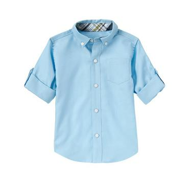 Afternoon Blue Dobby Roll Cuff Shirt at JanieandJack