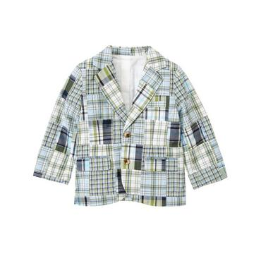Grasshopper Green Patchwork Plaid Patchwork Blazer at JanieandJack