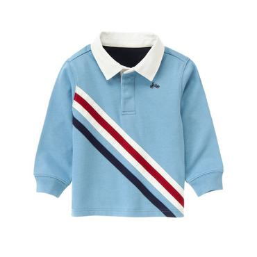 Collegiate Blue Pieced Stripe Rugby Shirt at JanieandJack