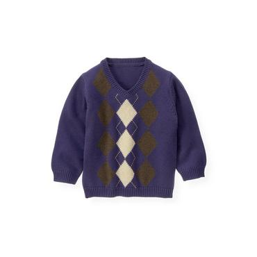 Dark Purple Argyle Sweater at JanieandJack