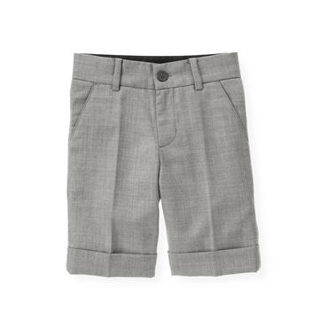 Classic Grey Herringbone Suit Short at JanieandJack