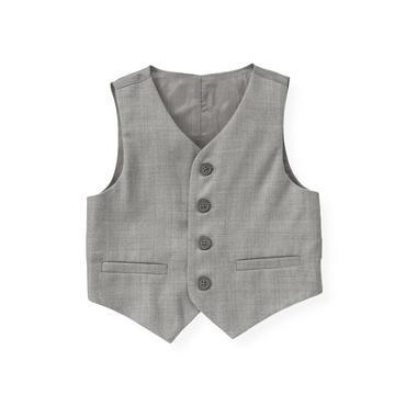 Classic Grey Herringbone Suit Vest at JanieandJack