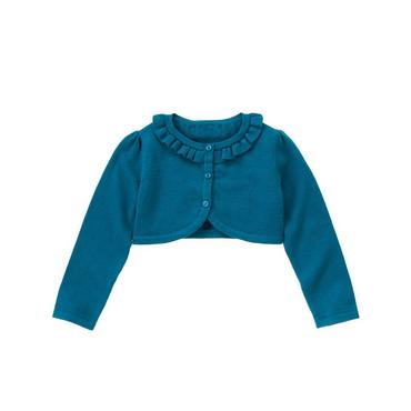 Peacock Blue Ruffle Crop Cardigan at JanieandJack