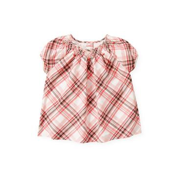 Classic Pink Plaid Hand-Smocked Plaid Top at JanieandJack