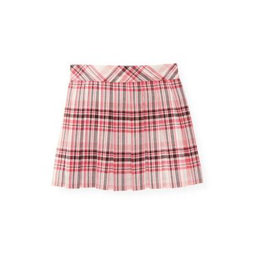Classic Pink Plaid Pleated Plaid Skirt at JanieandJack