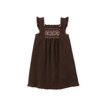 Dark Brown Hand-Smocked Corduroy Jumper at JanieandJack