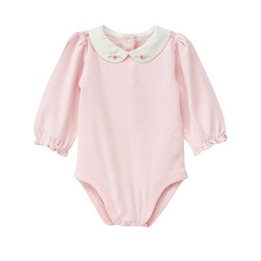 Baby Girl Blossom Pink Hand-Embroidered Collar Bodysuit at JanieandJack