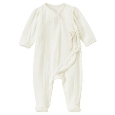 Baby Girl Jet Ivory Hand-Embroidered Pointelle One-Piece at JanieandJack