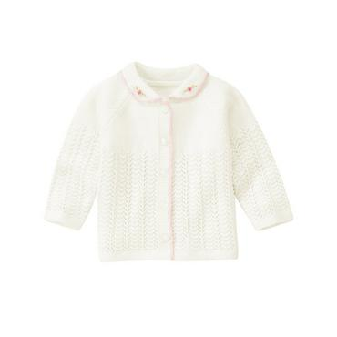 Baby Girl Jet Ivory Hand-Embroidered Pointelle Cardigan at JanieandJack