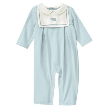 Baby Boy Hippo Blue Hippo Embroidered Bib One-Piece at JanieandJack