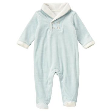 Baby Boy Hippo Blue Stripe Stripe Velour One-Piece at JanieandJack