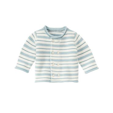 Baby Boy Hippo Blue Stripe Stripe Sweater Cardigan at JanieandJack