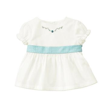 Jet Ivory Hand-Embroidered Pindot Sash Top at JanieandJack