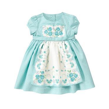 Antique Blue Dot Floral Pindot Apron Dress at JanieandJack