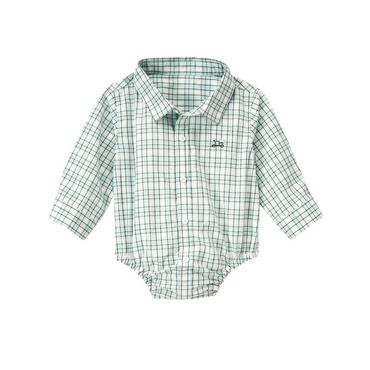 Baby Boy Train Blue Plaid Plaid Bodysuit at JanieandJack