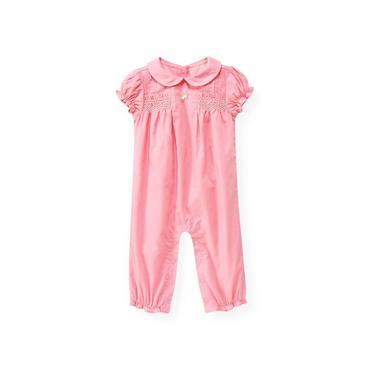 Baby Girl Petal Pink Hand-Smocked Dobby One-Piece at JanieandJack