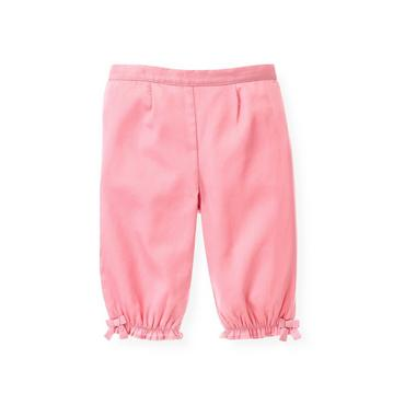 Baby Girl Petal Pink Sateen Bow Pant at JanieandJack