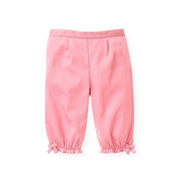 Baby Girl Petal Pink Sateen Bow Pant at JanieandJack