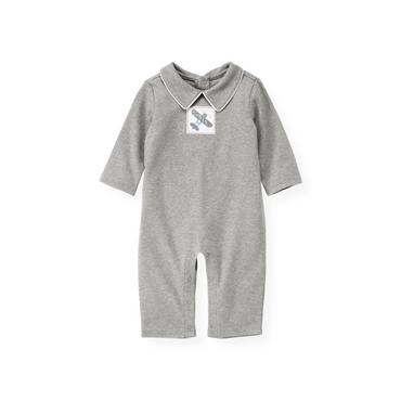 Baby Boy Heather Grey Plane Heathered One-Piece at JanieandJack