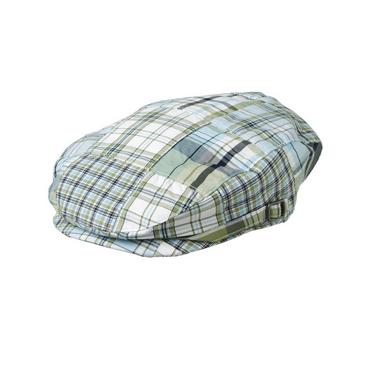 Boys Grasshopper Green Patchwork Plaid Patchwork Cap at JanieandJack
