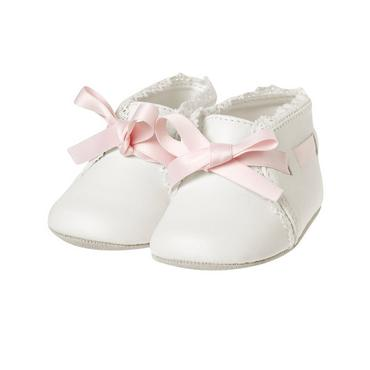 Baby Girl Jet Ivory Interlaced Crib Shoe at JanieandJack