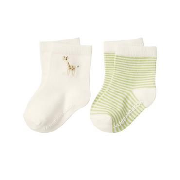 Baby Boy Jet Ivory Giraffe Sock Two-Pack at JanieandJack