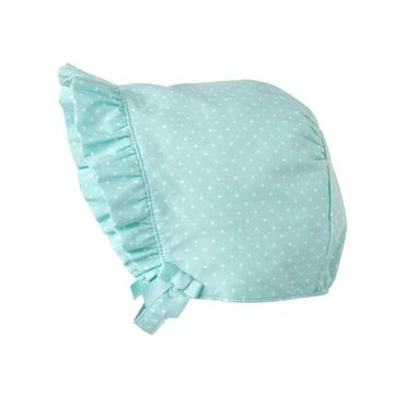 Antique Blue Dot Ruffle Pindot Bonnet at JanieandJack