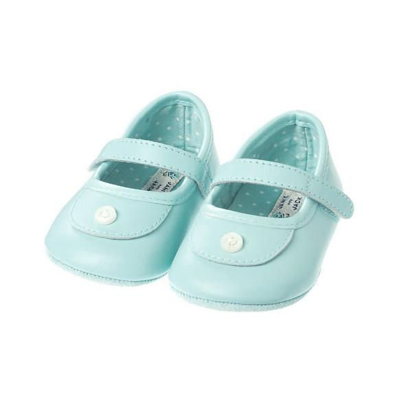 Button Leather Crib Shoe