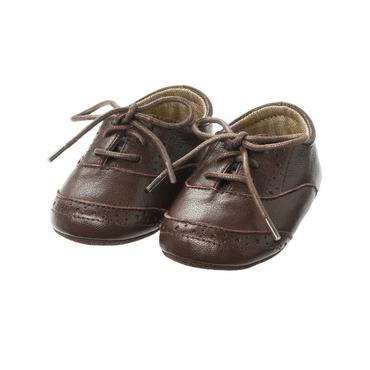 Chocolate Brown Wingtip Leather Crib Shoe at JanieandJack