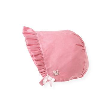 Petal Pink Hand-Embroidered Sateen Bonnet at JanieandJack