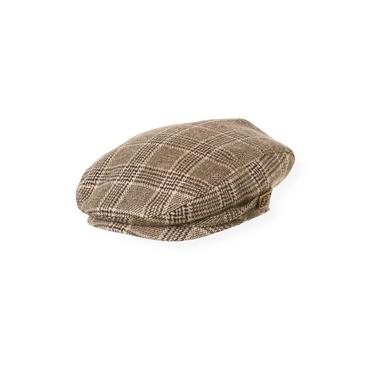 Boys Soft Brown Plaid Glen Plaid Tweed Cap at JanieandJack