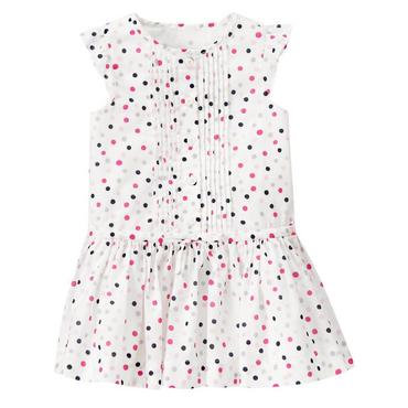 Parisian Pink Dot Pintucked Dot Dress at JanieandJack