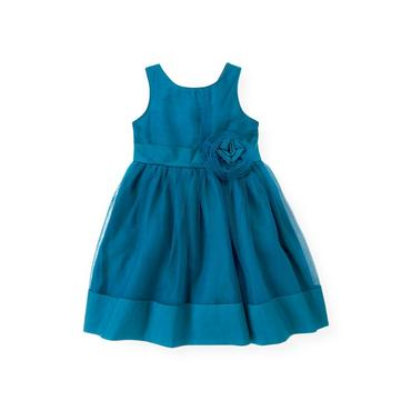 Sapphire Blue Tulle Rosette Silk Dress at JanieandJack