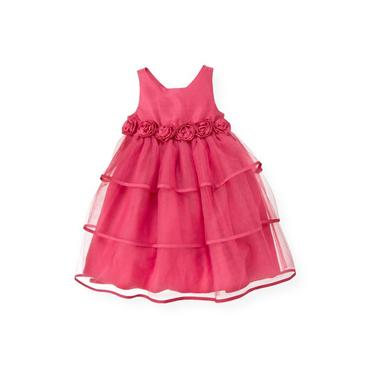 Ruby Pink Silk Rosette Tiered Dress at JanieandJack