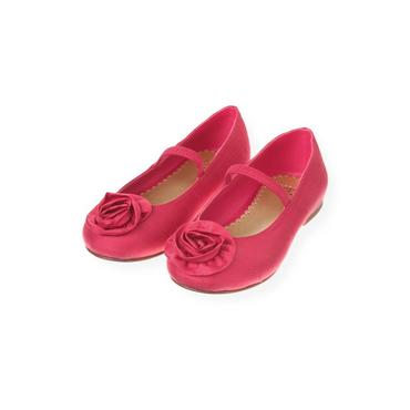 Ruby Pink Rosette Silk Shoe at JanieandJack