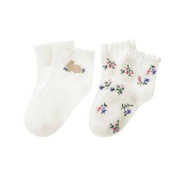 Jet Ivory Bunny Floral Sock Two-Pack at JanieandJack
