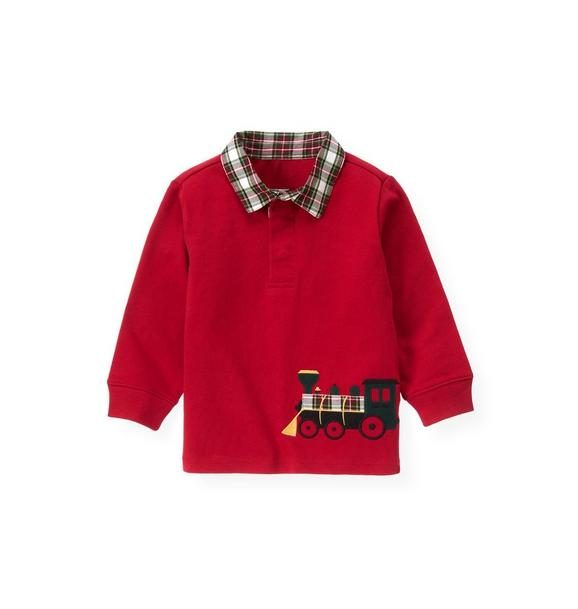 Train Plaid Collar Rugby Shirt