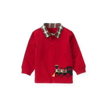 Holiday Red Train Plaid Collar Rugby Shirt at JanieandJack