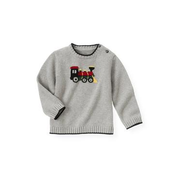 Heather Grey Train Sweater at JanieandJack