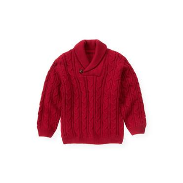 Holiday Red Shawl Collar Cable Sweater at JanieandJack