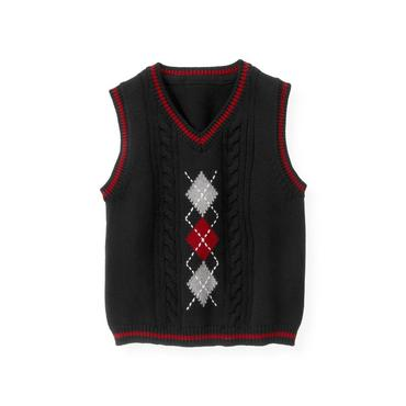 Black Argyle Cable Sweater Vest at JanieandJack