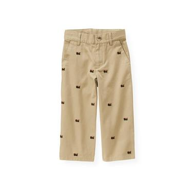 Classic Khaki Embroidered Train Pant at JanieandJack