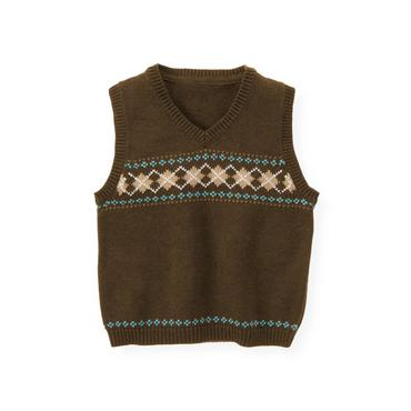 Heathered Brown Argyle Sweater Vest at JanieandJack