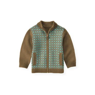 Walnut Brown Diamond Sweater Cardigan at JanieandJack