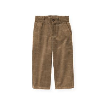 Walnut Brown Plaid Plaid Corduroy Pant at JanieandJack