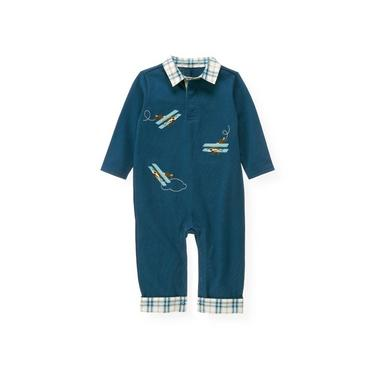 Propeller Blue Airplane Collar One-Piece at JanieandJack