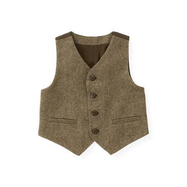 Autumn Brown Heather Tweed Suit Vest at JanieandJack