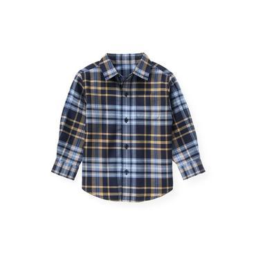 Classic Navy Plaid Glen Plaid Shirt at JanieandJack
