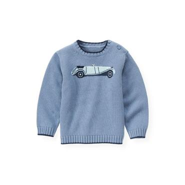 Winter Blue Vintage Car Sweater at JanieandJack