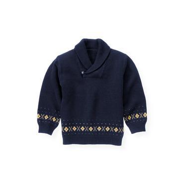Classic Navy Shawl Collar Fair Isle Sweater at JanieandJack